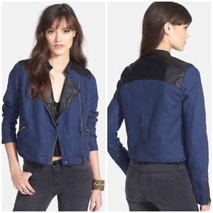 Free People Blue Linen Vegan Leather Moto Jacket 8